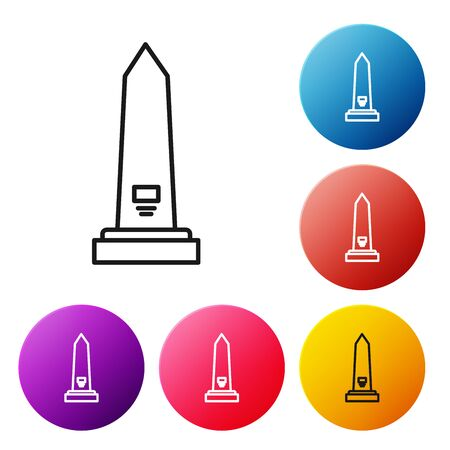 Black line Washington monument icon isolated on white background. Concept of commemoration, DC landmark, patriotism. Set icons colorful circle buttons. Vector Illustration 向量圖像