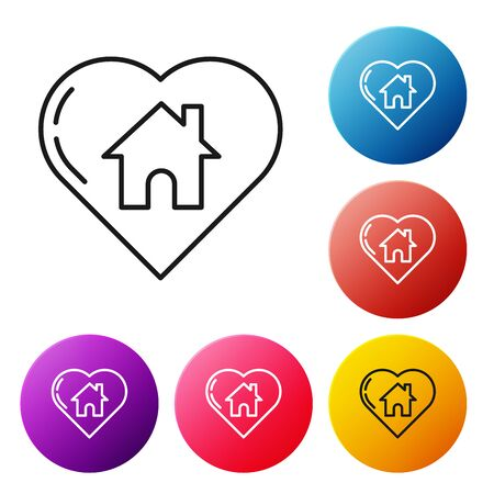 Black line House with heart shape icon isolated on white background. Love home symbol. Family, real estate and realty. Set icons colorful circle buttons. Vector Illustration Ilustração
