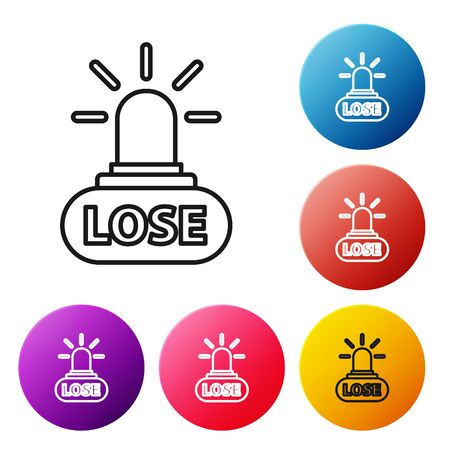 Black line Casino losing icon isolated on white background. Set icons colorful circle buttons. Vector Illustration
