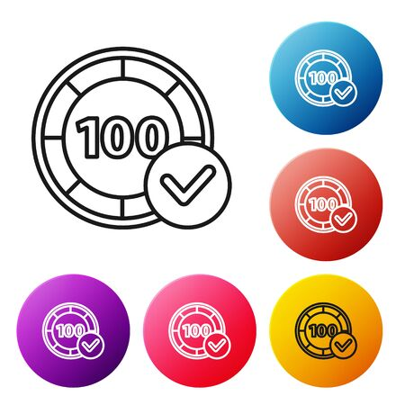 Black line Casino chips icon isolated on white background. Casino gambling. Set icons colorful circle buttons. Vector Illustration