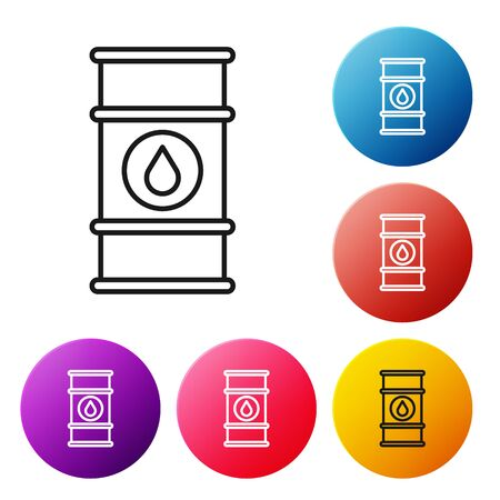 Black line Oil barrel line icon isolated on white background. Oil drum container. For infographics, fuel, industry, power, ecology. Set icons colorful circle buttons. Vector Illustration