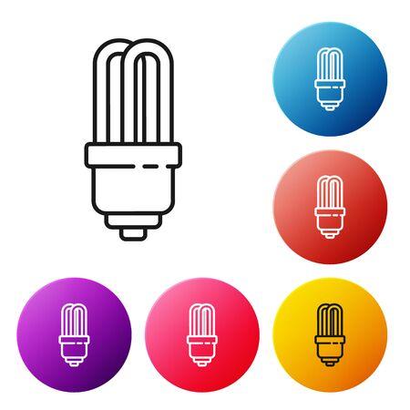 Black line LED light bulb icon isolated on white background. Economical LED illuminated lightbulb. Save energy lamp. Set icons colorful circle buttons. Vector Illustration