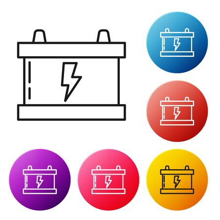 Black line Car battery icon isolated on white background. Accumulator battery energy power and electricity accumulator battery. Lightning bolt. Set icons colorful circle buttons. Vector Illustration