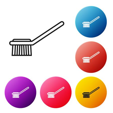 Black line Toilet brush icon isolated on white background. Set icons colorful circle buttons. Vector Illustration Фото со стока - 134510131