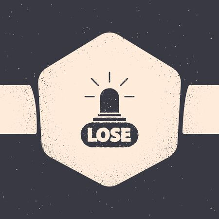 Grunge Casino losing icon isolated on grey background. Monochrome vintage drawing. Vector Illustration