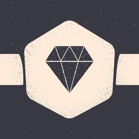 Grunge Diamond icon isolated on grey background. Jewelry symbol. Gem stone. Monochrome vintage drawing. Vector Illustration