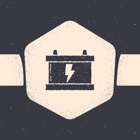 Grunge Car battery icon isolated on grey background. Accumulator battery energy power and electricity accumulator battery. Lightning bolt. Monochrome vintage drawing. Vector Illustration
