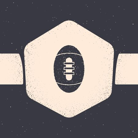 Grunge American Football ball icon isolated on grey background. Rugby ball icon. Team sport game symbol. Monochrome vintage drawing. Vector Illustration