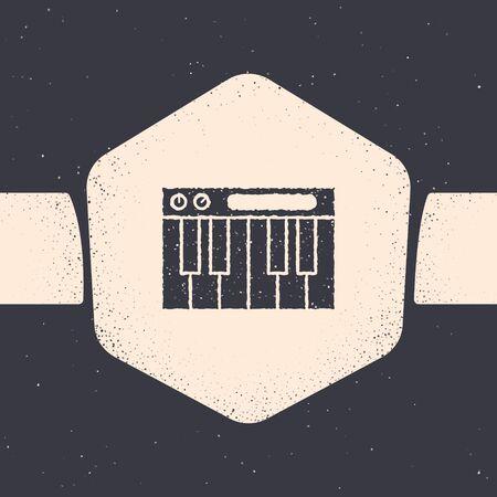 Grunge Music synthesizer icon isolated on grey background. Electronic piano. Monochrome vintage drawing. Vector Illustration Ilustracja
