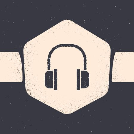 Grunge Headphones icon isolated on grey background. Earphones sign. Concept for listening to music, service, communication and operator. Monochrome vintage drawing. Vector Illustration
