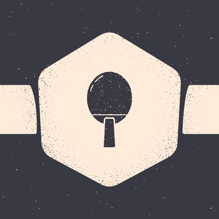 Grunge Racket for playing table tennis icon isolated on grey background. Monochrome vintage drawing. Vector Illustration