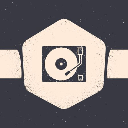 Grunge Vinyl player with a vinyl disk icon isolated on grey background. Monochrome vintage drawing. Vector Illustration Ilustracja