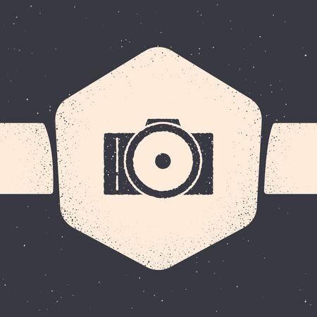 Grunge Photo camera icon isolated on grey background. Foto camera icon. Monochrome vintage drawing. Vector Illustration