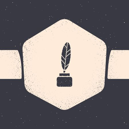 Grunge Feather and inkwell icon isolated on grey background. Monochrome vintage drawing. Vector Illustration