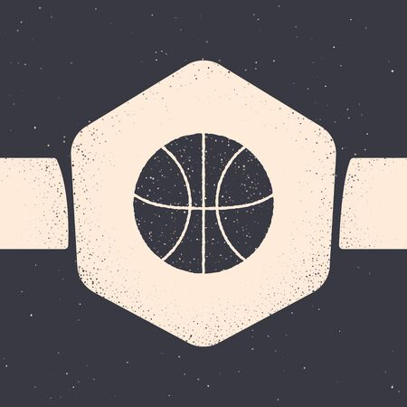 Grunge Basketball ball icon isolated on grey background. Sport symbol. Monochrome vintage drawing. Vector Illustration Ilustracja