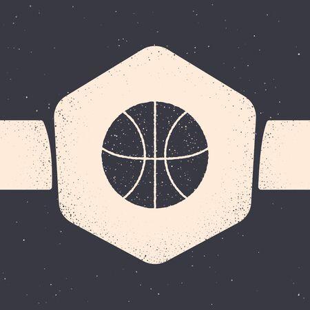 Grunge Basketball ball icon isolated on grey background. Sport symbol. Monochrome vintage drawing. Vector Illustration Stock Illustratie