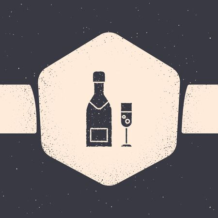 Grunge Champagne bottle and glass of champagne icon isolated on grey background. Merry Christmas and Happy New Year. Monochrome vintage drawing. Vector Illustration
