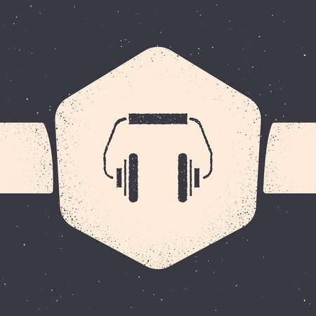 Grunge Headphones icon isolated on grey background. Earphones. Concept for listening to music, service, communication and operator. Monochrome vintage drawing. Vector Illustration