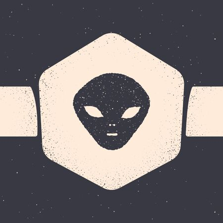 Grunge Alien icon isolated on grey background. Extraterrestrial alien face or head symbol. Monochrome vintage drawing. Vector Illustration
