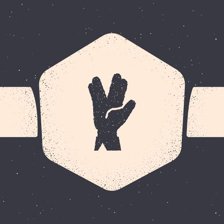 Grunge Vulcan salute icon isolated on grey background. Hand with vulcan greet. Spock symbol. Monochrome vintage drawing. Vector Illustration Иллюстрация