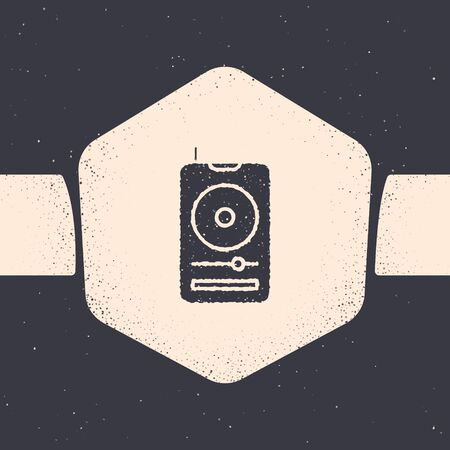 Grunge Music player icon isolated on grey background. Portable music device. Monochrome vintage drawing. Vector Illustration Ilustracja