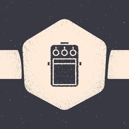 Grunge Guitar pedal icon isolated on grey background. Musical equipment. Monochrome vintage drawing. Vector Illustration