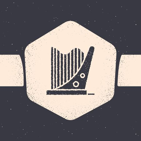 Grunge Harp icon isolated on grey background. Classical music instrument, orhestra string acoustic element. Monochrome vintage drawing. Vector Illustration