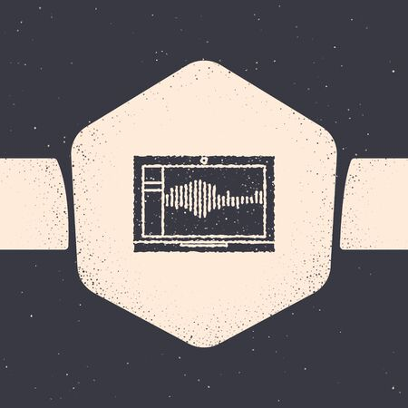 Grunge Sound or audio recorder or editor software on laptop icon isolated on grey background. Monochrome vintage drawing. Vector Illustration