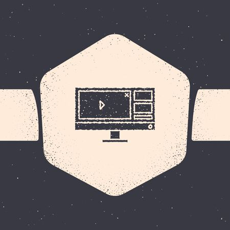 Grunge Video recorder or editor software on computer monitor icon isolated on grey background. Monochrome vintage drawing. Vector Illustration