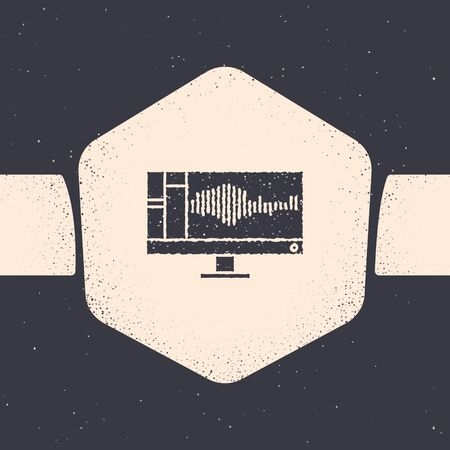 Grunge Sound or audio recorder or editor software on computer monitor icon isolated on grey background. Monochrome vintage drawing. Vector Illustration