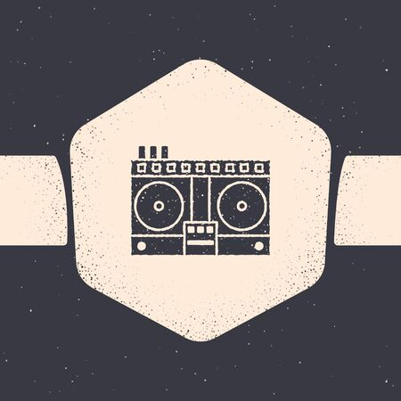 Grunge DJ remote for playing and mixing music icon isolated on grey background. DJ mixer complete with vinyl player and remote control. Monochrome vintage drawing. Vector Illustration Ilustracja