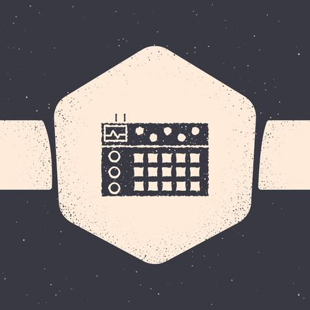 Grunge Drum machine icon isolated on grey background. Musical equipment. Monochrome vintage drawing. Vector Illustration