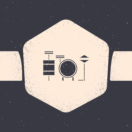 Grunge Drums icon isolated on grey background. Music sign. Musical instrument symbol. Monochrome vintage drawing. Vector Illustration