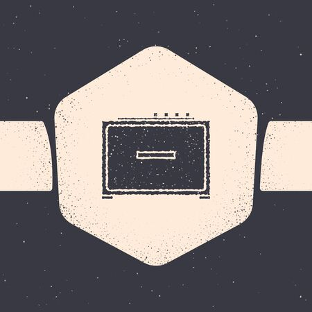 Grunge Guitar amplifier icon isolated on grey background. Musical instrument. Monochrome vintage drawing. Vector Illustration