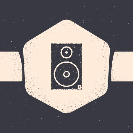 Grunge Stereo speaker icon isolated on grey background. Sound system speakers. Music icon. Musical column speaker bass equipment. Monochrome vintage drawing. Vector Illustration