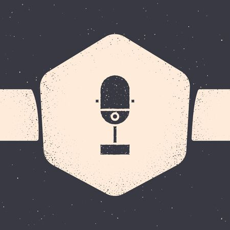 Grunge Microphone icon isolated on grey background. On air radio mic microphone. Speaker sign. Monochrome vintage drawing. Vector Illustration