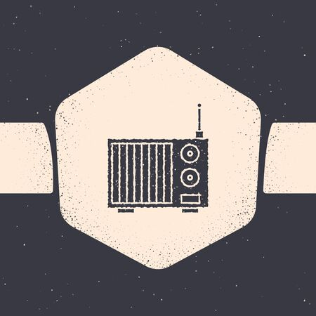Grunge Radio with antenna icon isolated on grey background. Monochrome vintage drawing. Vector Illustration