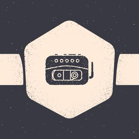 Grunge Music tape player icon isolated on grey background. Portable music device. Monochrome vintage drawing. Vector Illustration