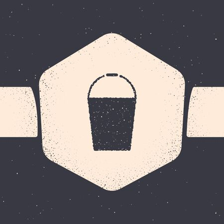 Grunge Bucket icon isolated on grey background. Monochrome vintage drawing. Vector Illustration