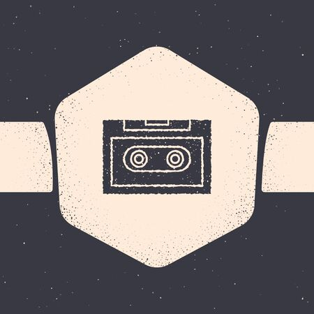 Grunge Retro audio cassette tape icon isolated on grey background. Monochrome vintage drawing. Vector Illustration