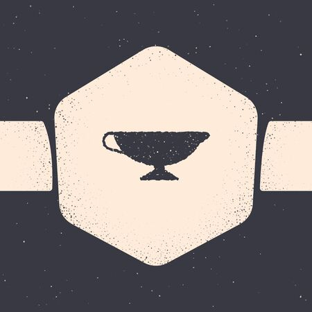 Grunge Sauce boat icon isolated on grey background. Sauce bowl. Monochrome vintage drawing. Vector Illustration 向量圖像