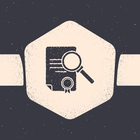 Grunge Document with search icon isolated on grey background. File and magnifying glass icon. Analytics research sign. Monochrome vintage drawing. Vector Illustration