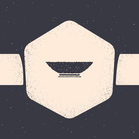 Grunge Bowl icon isolated on grey background. Monochrome vintage drawing. Vector Illustration Illustration