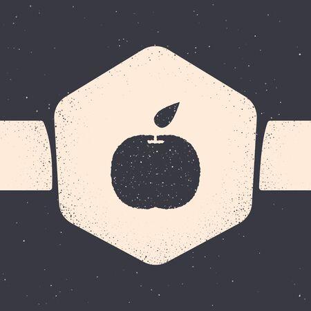 Grunge Apple icon isolated on grey background. Fruit with leaf symbol. Monochrome vintage drawing. Vector Illustration
