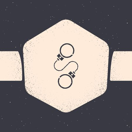 Grunge Handcuffs icon isolated on grey background. Monochrome vintage drawing. Vector Illustration