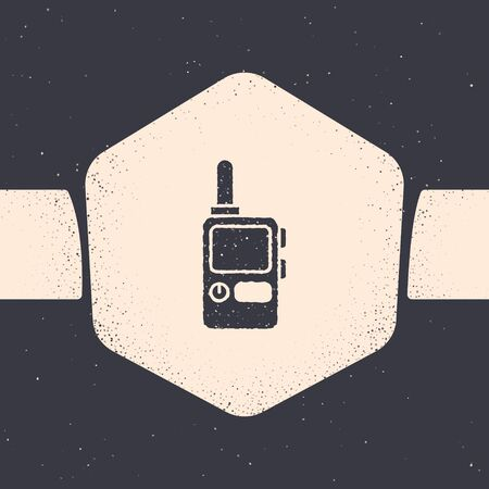 Grunge Walkie talkie icon isolated on grey background. Portable radio transmitter icon. Radio transceiver sign. Monochrome vintage drawing. Vector Illustration 向量圖像