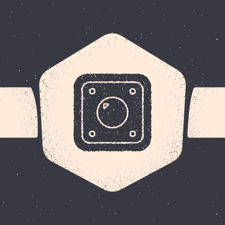 Grunge Electric light switch icon isolated on grey background. On and Off icon. Dimmer light switch sign. Concept of energy saving. Monochrome vintage drawing. Vector Illustration