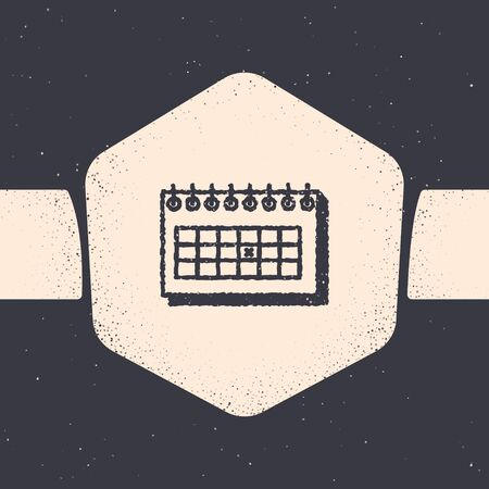Grunge Calendar icon isolated on grey background. Due date. Monochrome vintage drawing. Vector Illustration Ilustrace