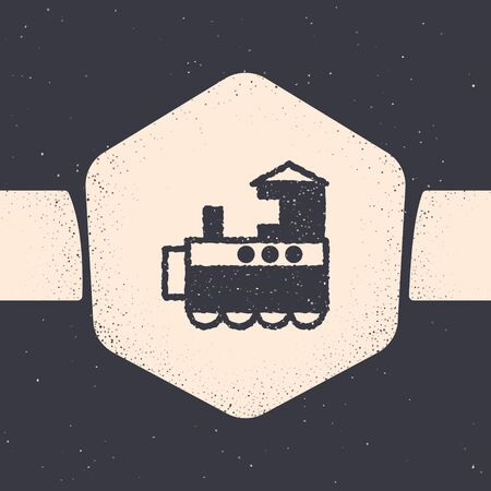 Grunge Toy train icon isolated on grey background. Monochrome vintage drawing. Vector Illustration