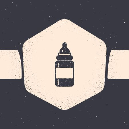 Grunge Baby bottle icon isolated on grey background. Feeding bottle icon. Milk bottle sign. Monochrome vintage drawing. Vector Illustration